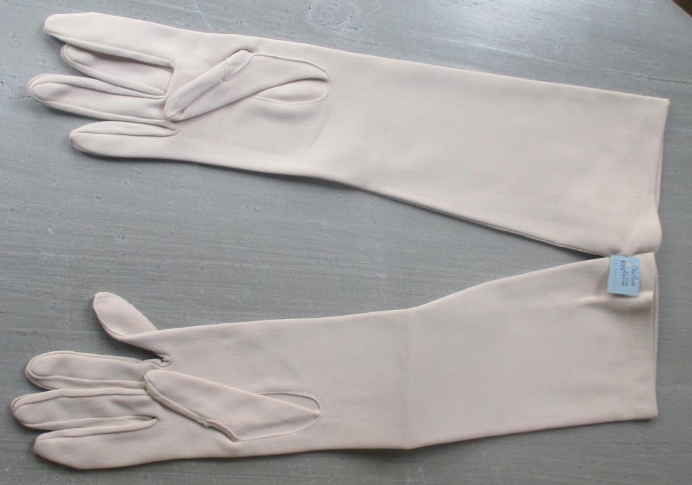 1950's Vintage BEIGE Nylon Van Raalte Ladies' Gloves Opera Length 22