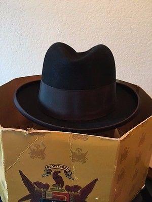 Gorgeous Knox 15 Vintage Fedora w/ Original Box - Black with Brown Ribbon