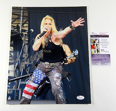 Lita Ford Signed 11x14 Color Photo  Pose #3 JSA Auto