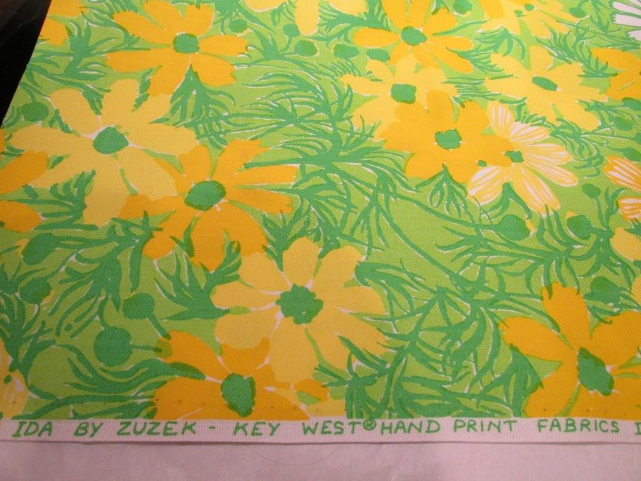 NOS LILLY PULITZER Ida by Zuzek Key West Hand Print Fabrics green daisy 14 x 60