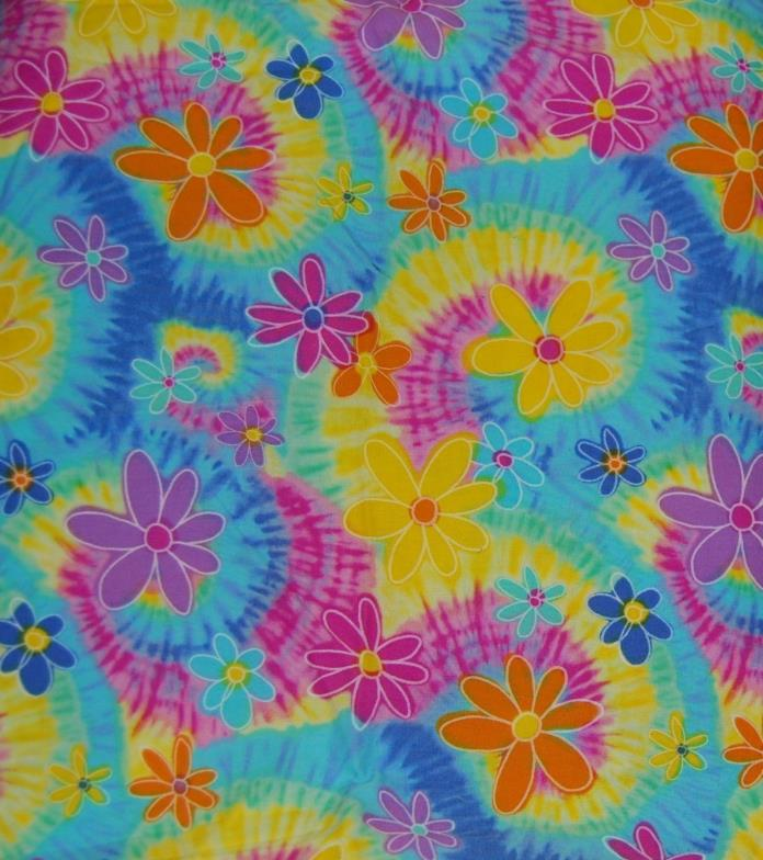 FABRIC YARDAGE SEWING COTTON BLEND DAISY & TIE DYE PINK PURPLE YELLOW ORANGE