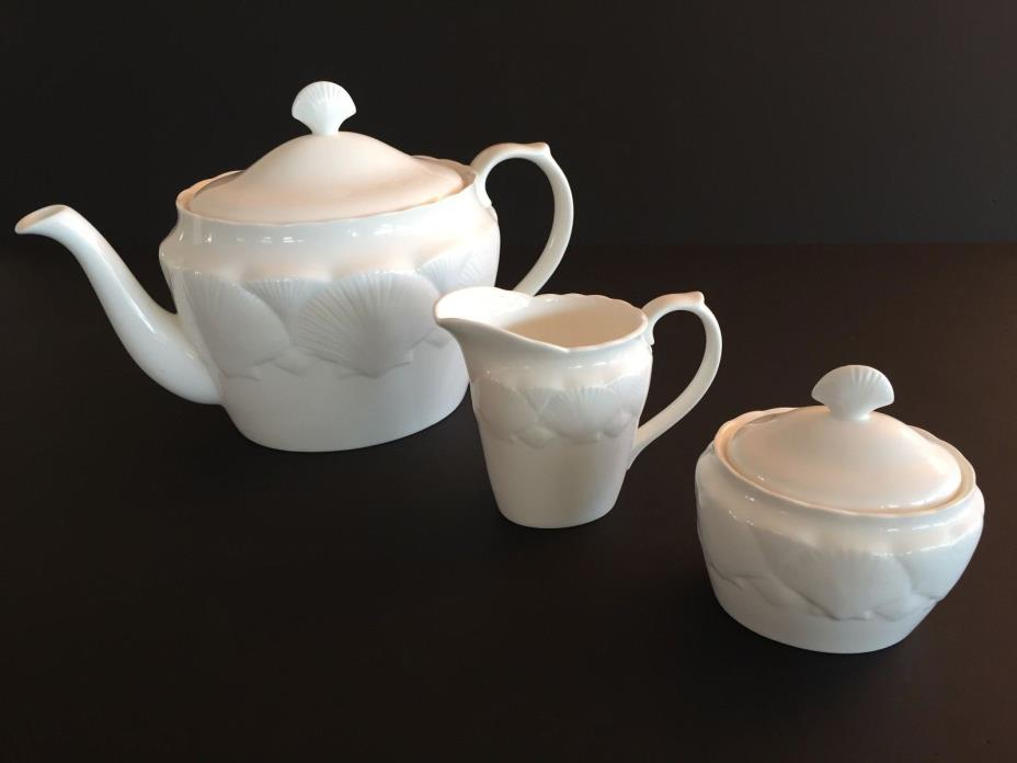Coalport teapot, sugar and creamer, Oceanside pattern, mint condition
