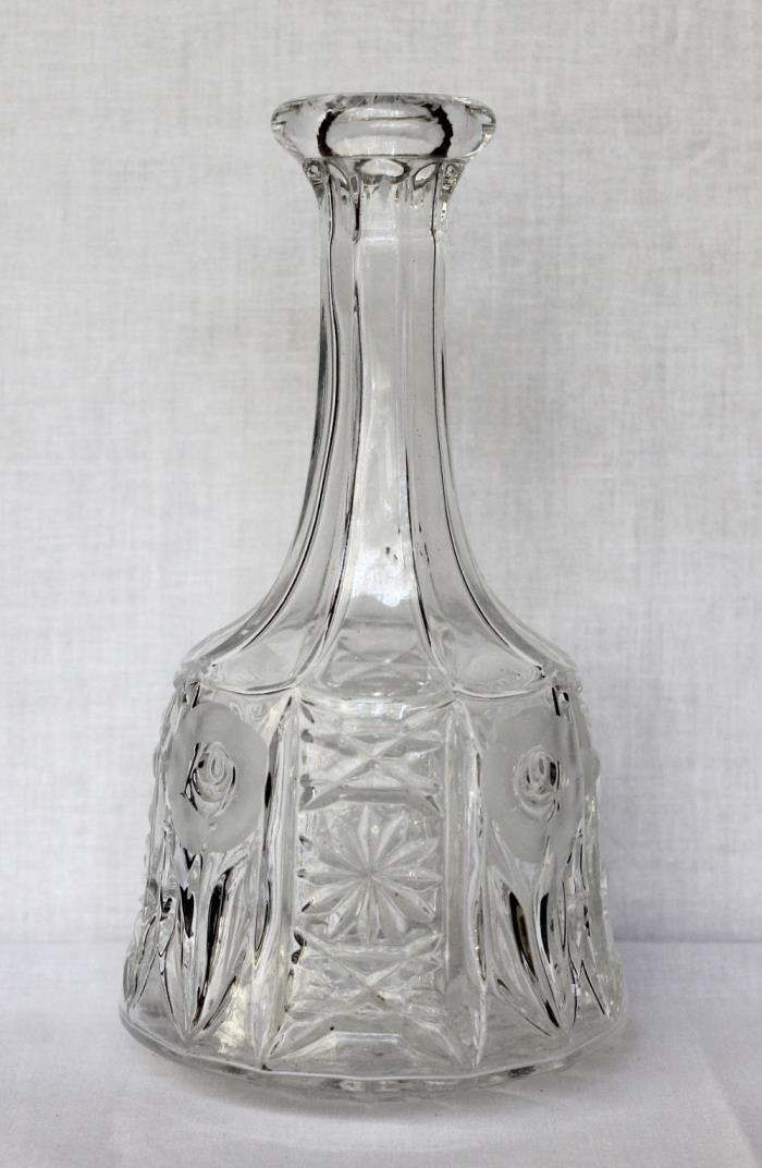 Large Clear Etched Rose Floral Starburst Pressed Glass Decanter Bottle Vase