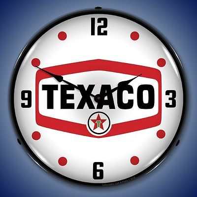 New  old style LIGHTED  Texaco Gas advertising clock American Made Fast Ship