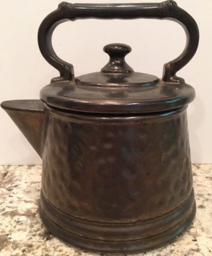 Vintage McCoy Pewter Bronze Teapot Cookie Jar