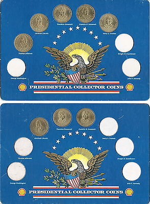 SHELL GASOLINE 1992 PRESIDENTIAL COLLECTOR COINS / CARD COIN HOLDER SET OF 2