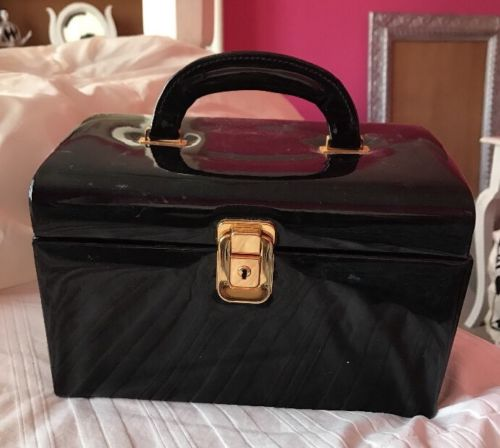Vintage Black Patent Train Case Cosmetic Storage