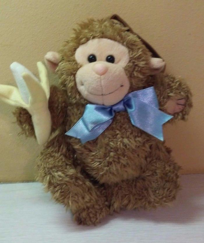 Vintage HTF 1999 Kids II Baby Brown Monkey Musical  Banana Pull Tail for sound