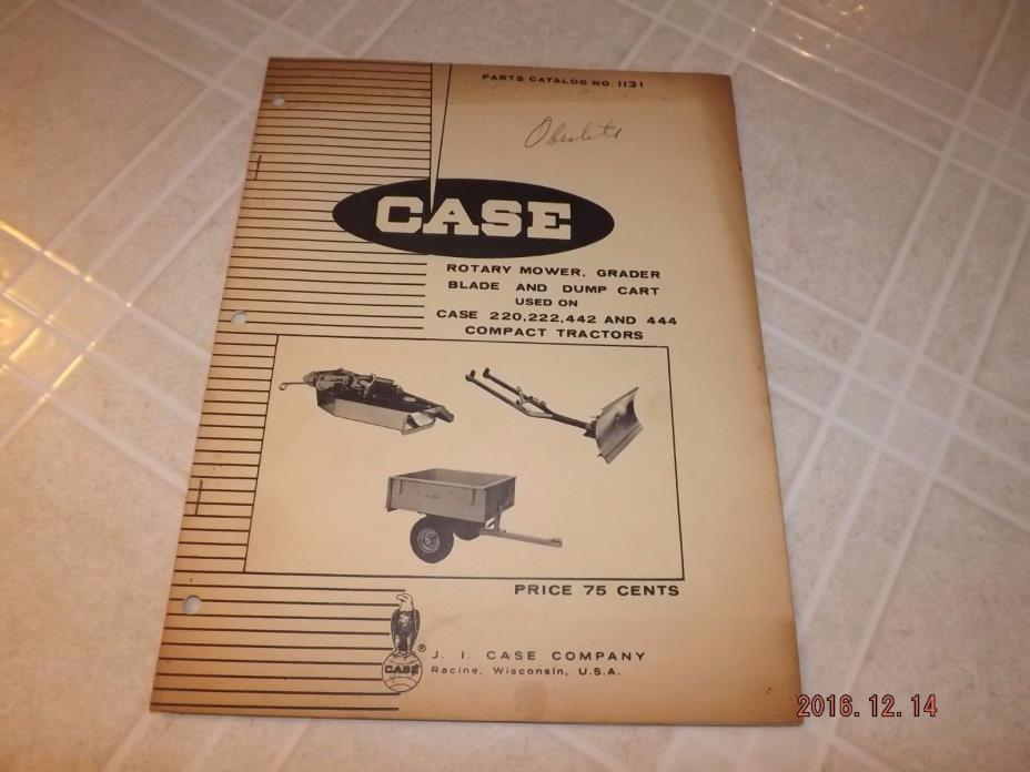 1969 Case Mower, Grader Blade, Dump Cart Parts Catalog 1131 SHIPS FREE!!