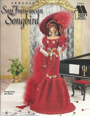 San Franciscan Songbird Crochet Barbie Fashion Doll Dress Clothing Patterns NEW