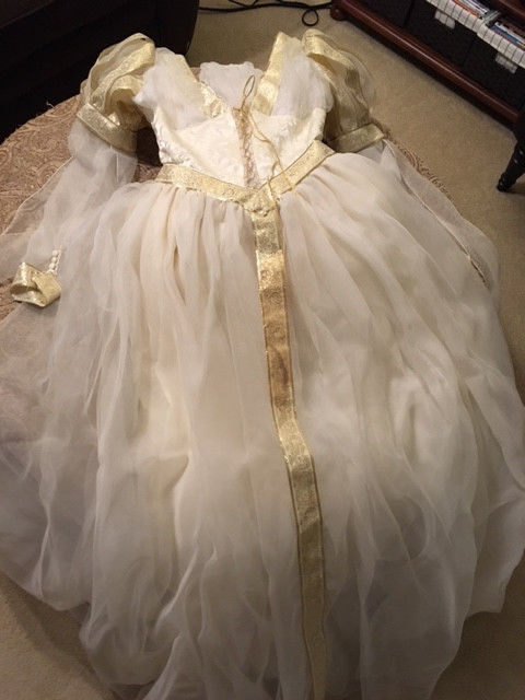 Renaissance wedding dress, custom made, ivory with gold accents, accessories inc