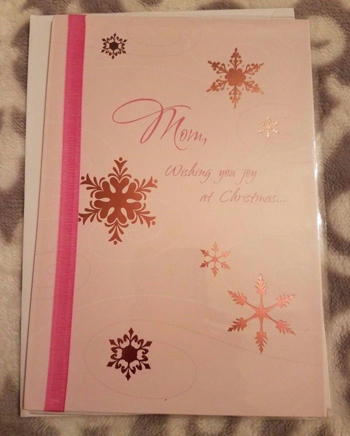 Merry Christmas Mom Gartner Greetings Card Snowflake Pink w/ Envelope