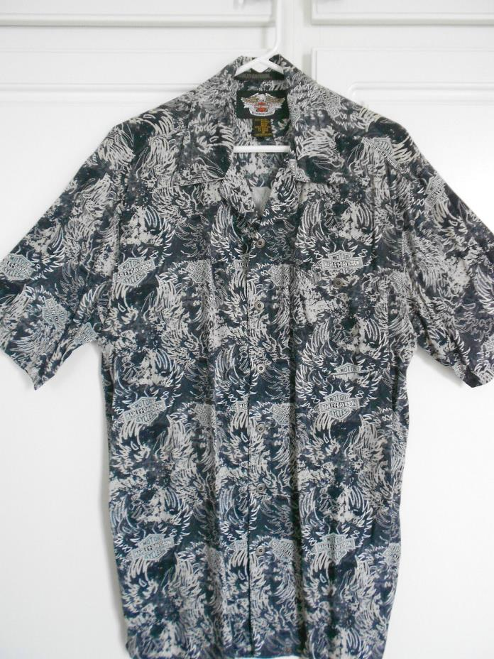 Men's Harley-Davidson Size M Button-Front 100% Rayon Short Sleeved Shirt