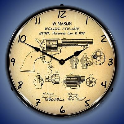 New 1875 Colt Peacemaker Patent Revolving Fire Arms  LIGHT UP revolver clock
