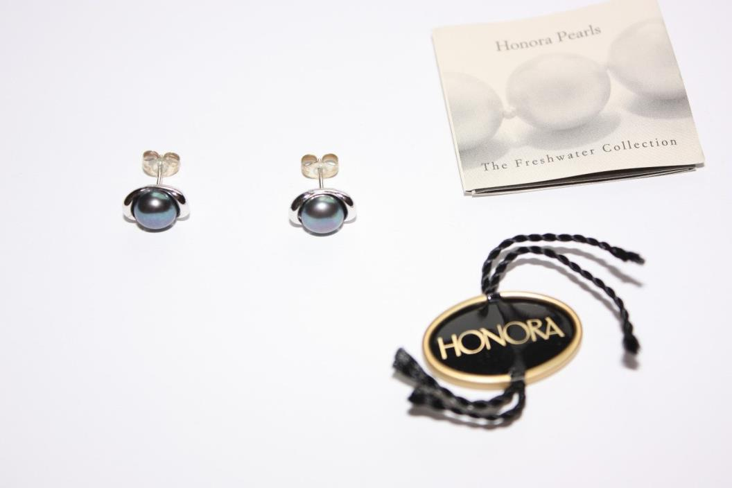 BNWT QVC Honora Freshwater Cultured Blue Sterling Silver Post Earrings!