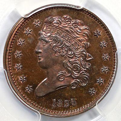 1836 1st Restrike R-7 PCGS PR 65 BN Classic Head Half Cent Coin 1/2c