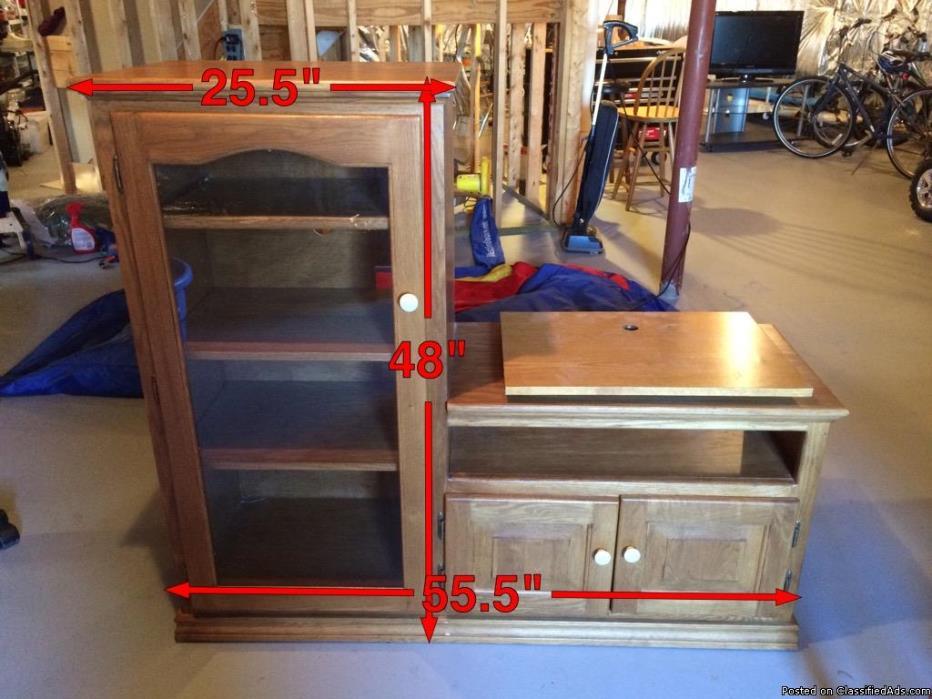 Oak glass console/cabinet