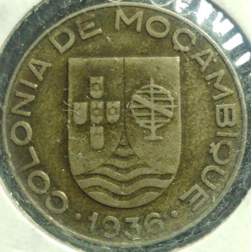 1936 Mozambique Escudo Coin F #325
