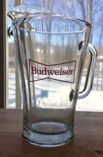 Budweiser Heavy Glass Beer Pitcher Vintage With Handle Red Label