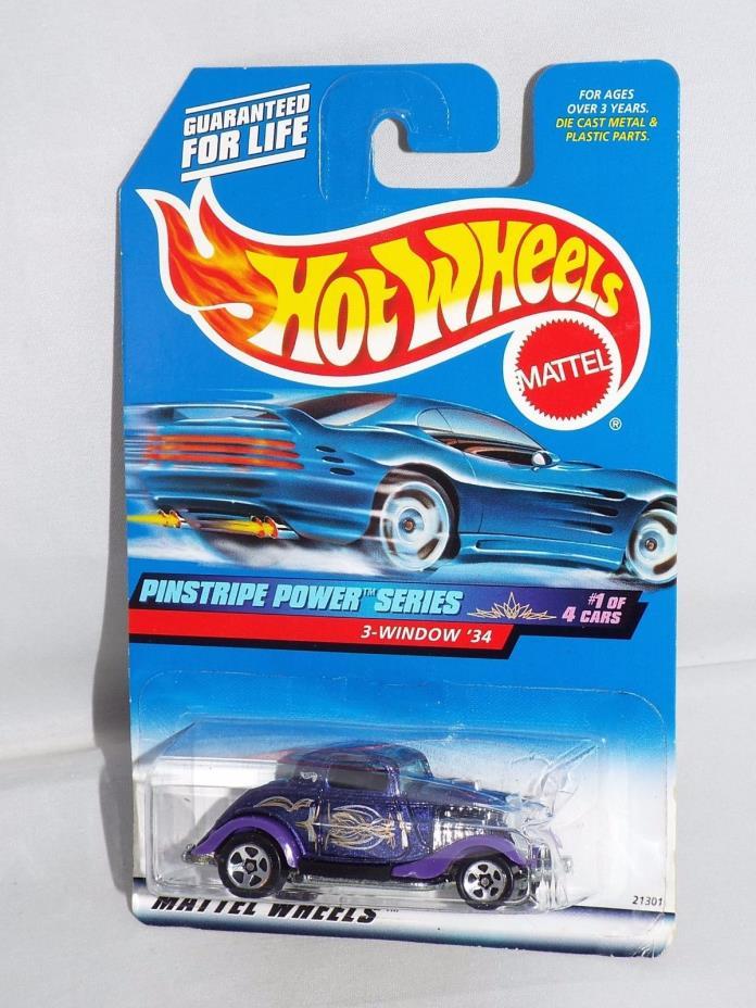 Hot Wheels 1999 Pinstripe Power Series #953 3-Window '34 Ford Purple