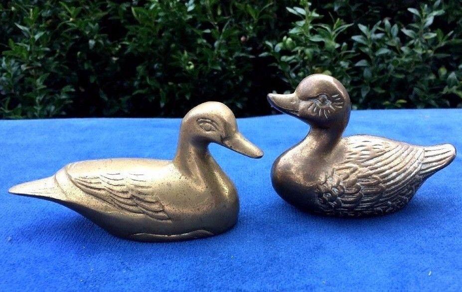 Antique Brass Mallard Wood DUCK DECOY Goose Swan Paperweight Figurine Mantle SET