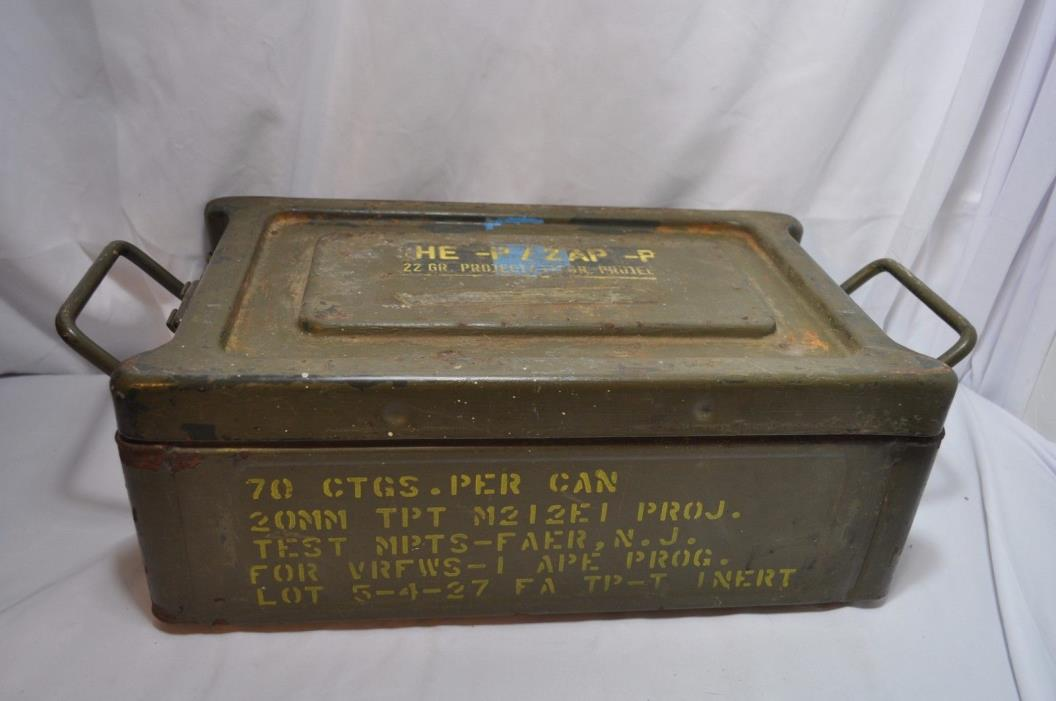 Vtg US Military 20mm Ammo Can Box for M212E1 Projectiles  17.5W X 10L x 6 1/4H