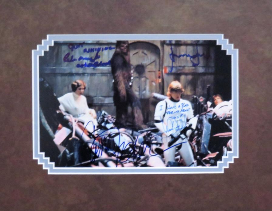 Star Wars Harrison Ford Carrie Fisher Mark Hamill Peter Mayhew Autograph Photo