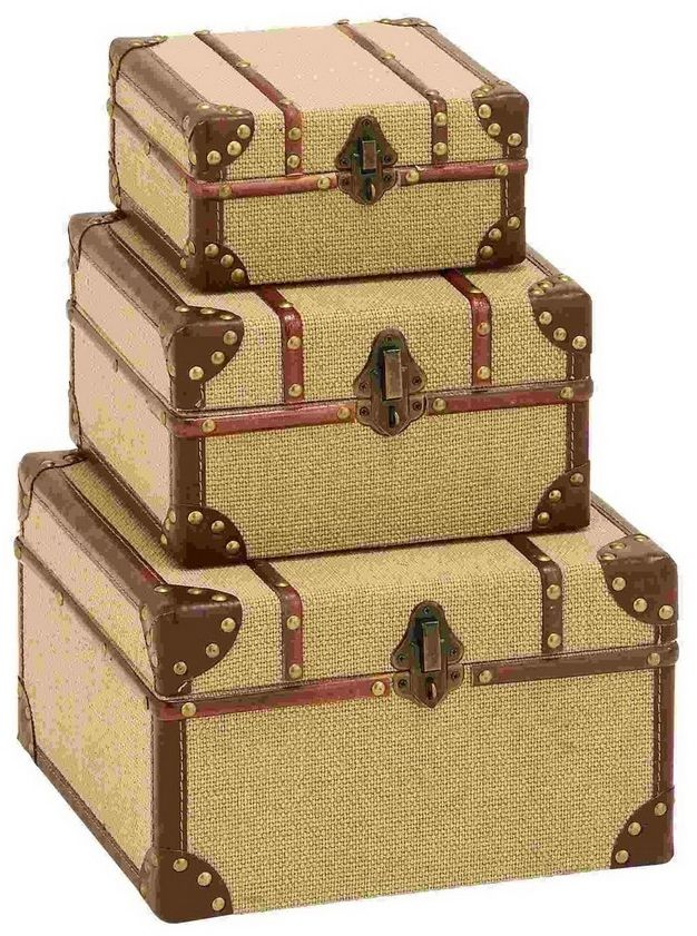 Travel Trunk Boxes End Table Bookend Decor Wood Burlap Set of 3 Table Decoration