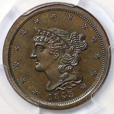 1843 Restrike PCGS PR 65 BN CAC Braided Hair Half Cent Coin 1/2c