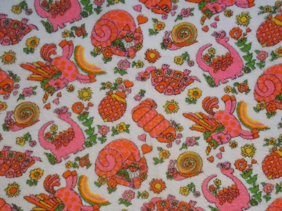 VTG Terry Cloth Fabric Pink Orange Cartoon Animals Unicorn Dino Snail Almost 3YD