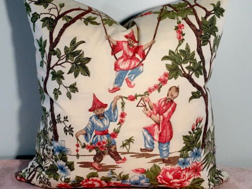 BEACON HILL THREE ASIAN MEN CHINOISERIE PILLOW