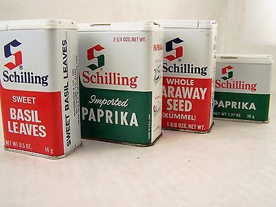 Vintage Spice Tins Lot of 4 Schilling McCormick