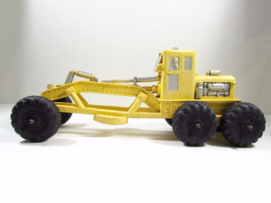 Vintage Auburn Rubber Road Grader Yellow Silver  with Black Tires Made in USA