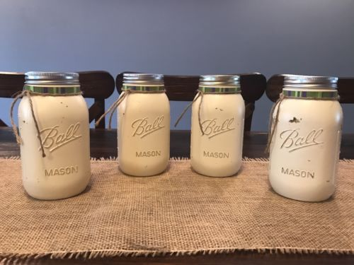 Decorative Mason Jars -Hand Painted Antiqued Cream