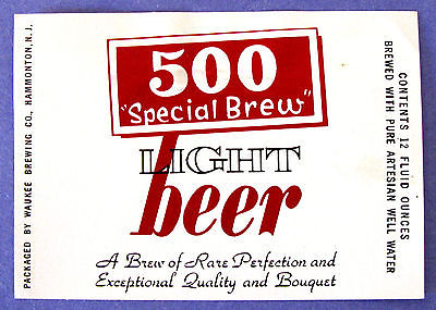 Waukee Brewing 500 SPECIAL BREW LIGHT BEER label NJ 12oz
