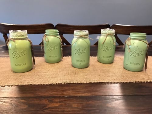 Decorative Mason Jars -Hand Painted Antiqued Green