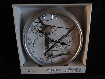NEW IN BOX REALTREE CAMO PATTERN WALL CLOCK WITH BRUSHED NICKEL FINISH