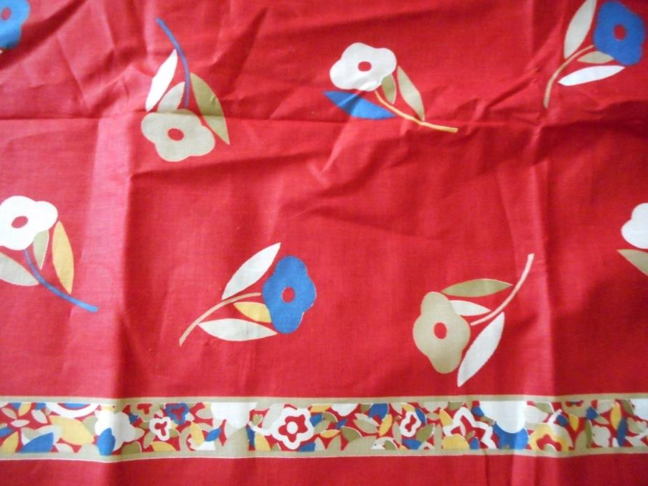 1981 Palace Fabrics Cotton-Quilting Decor-Red-Lg Print Floral Border 4.25+YDS