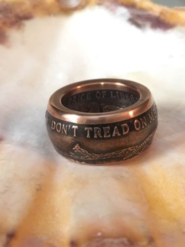 Don't Tread On Me Antiqued .999 Copper Men's Coin Ring Size 9 - 15