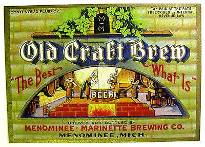 IRTP Menominee-Marinette Brewing OLD CRAFT BREW beer label MI 32oz