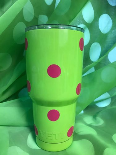 YETI Rambler 30 oz Stainless Steel - Lime Green/Hot Pink Vinyl Polka-Dots ??New