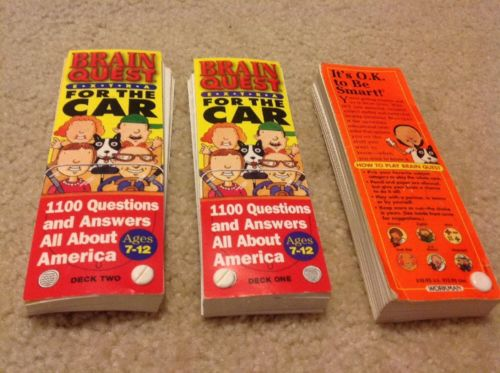 Lot of 3 Brain Quest Questions& Answers Decks For the Car 7-12