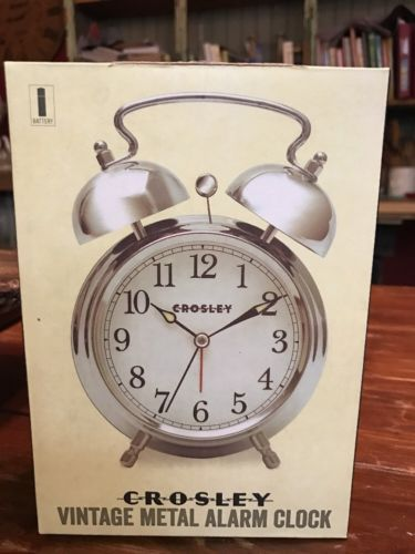 CROSLEY VINTAGE METAL ALARM CLOCK POLISHED SILVER