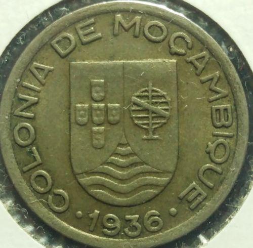 1936 Mozambique (Portuguese) 50 Centavos Coin VF #327