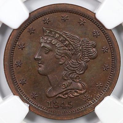 1845 2nd Restrike R-6 NGC PF 67 Braided Hair Half Cent Coin 1/2c