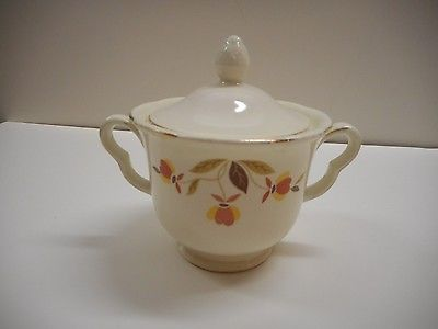 Hall Jewel Tea Co Autumn Leaf Sugar Dish Ruffled
