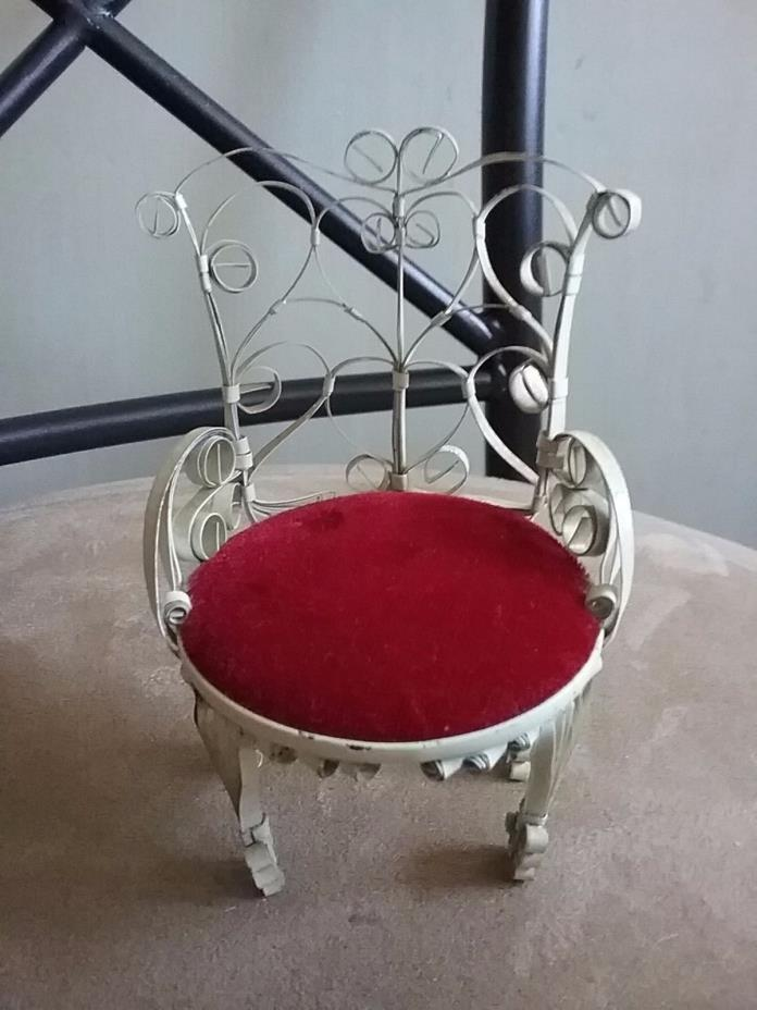 MINIATURE DOLL HOUSE TIN VICTORIAN HANDMADE PARLOR CHAIR