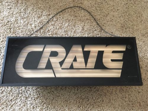 Vintage Crate Amplifiers Amp Neon Sign Dealer Advertising Music Store Guitar Red