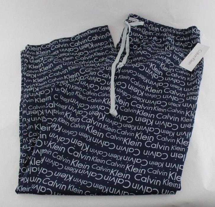 NWT Calvin Klein Print Sleepwear Lounge Pajama PJ pants Navy Cotton Men XL