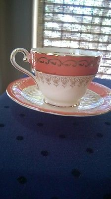 AYNSLEY tea cup & saucer vintage coral/gold